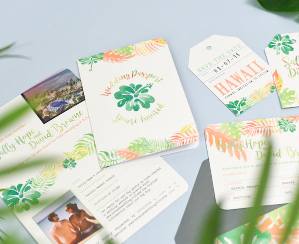 Tropical Wedding Invitation Set of Passport, Airline Ticket, Tag and Postcard