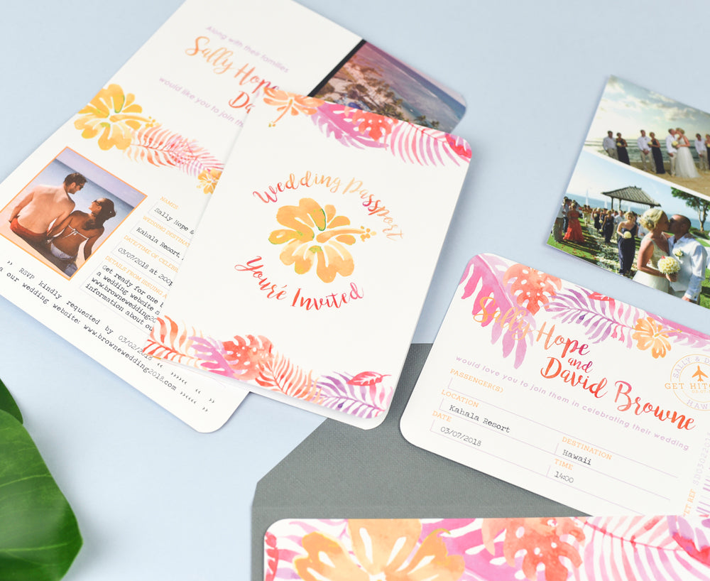 Hot Pink & Orange Tropical Stationery for your Destination Wedding ...