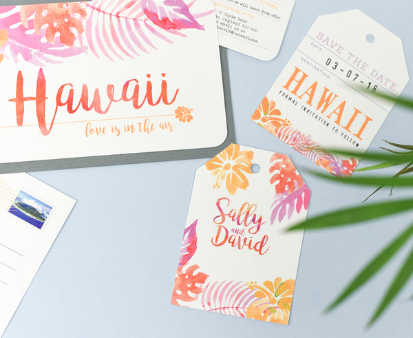 Hot Pink & Orange Tropical Wedding Invites perfect for a Destination Wedding