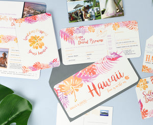 Hot Pink & Orange Tropical Wedding Invites perfect for a Destination Wedding in Hawaii
