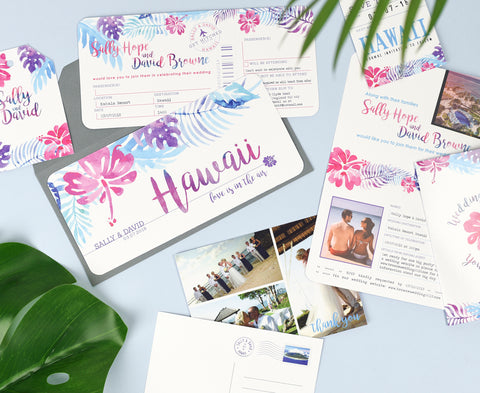 Tropical Wedding Invitation Set in Pink for Destination Wedding