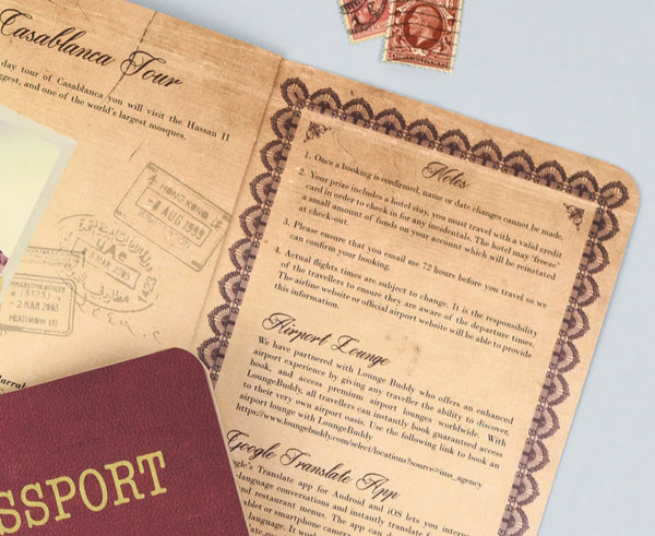 Realistic Authentic Passport Invitation in a quirky Vintage Style