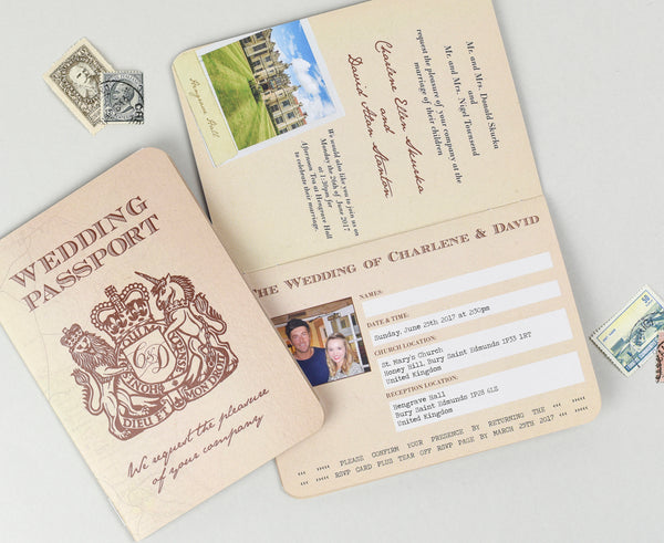 Vintage Retro Rustic Wedding Passport Invitation