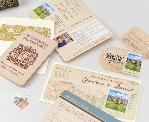 Matching set of vintage style wedding stationery with a travel theme