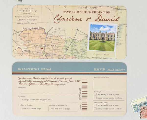 Vintage style wedding invitation RSVP Airline Ticket card