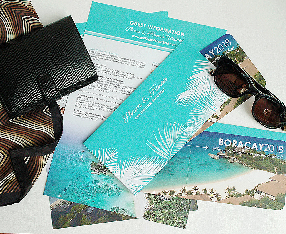 Tropical Ticket Invitation with Travel Wallet and Info Sheet
