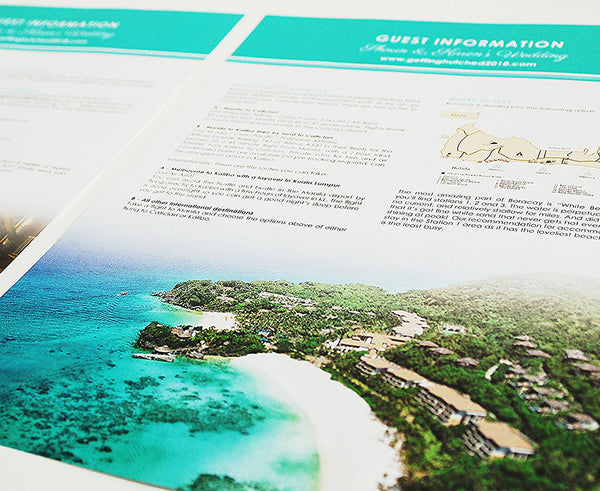 Travel Information Sheet for destination wedding invitation