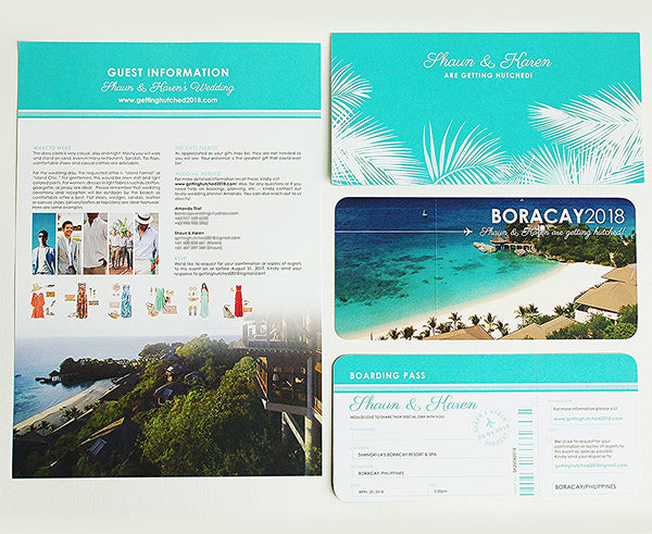 Destination Wedding Ticket Invitation with matching Travel Wallet