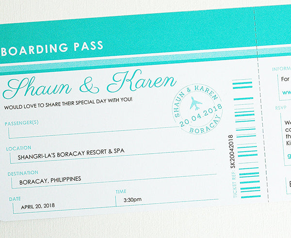 Airline Ticket Invitation with Tear Off RSVP Card