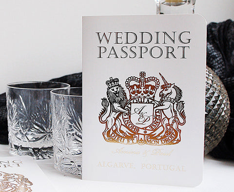 Gold and White British Passport with Foil for a Invitation with the Wow Factor