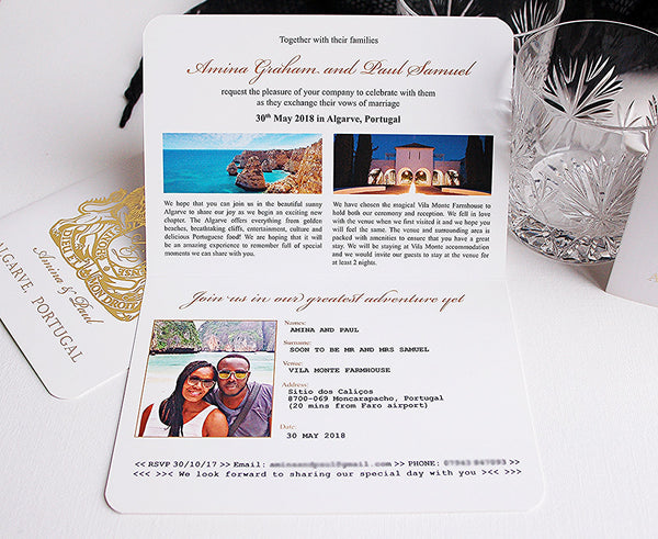Inside of Passport Invitation with the wow factor