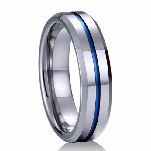 Silver & Blue Stripped Tungsten Ring - Jewelux & Co.