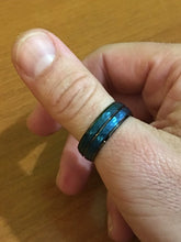 Black & Blue Cool Finished Tungsten Ring - Jewelux & Co.