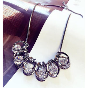 Bright Crystal Korean Style Cubic Zirconia Pendant Necklace - Jewelux & Co.