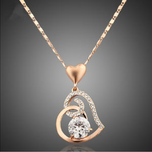Crystal Heart Pendant Necklace - Jewelux & Co.