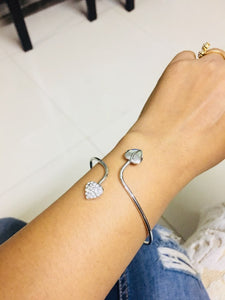 Double Heart Crystal Cuff Bangle - Jewelux & Co.