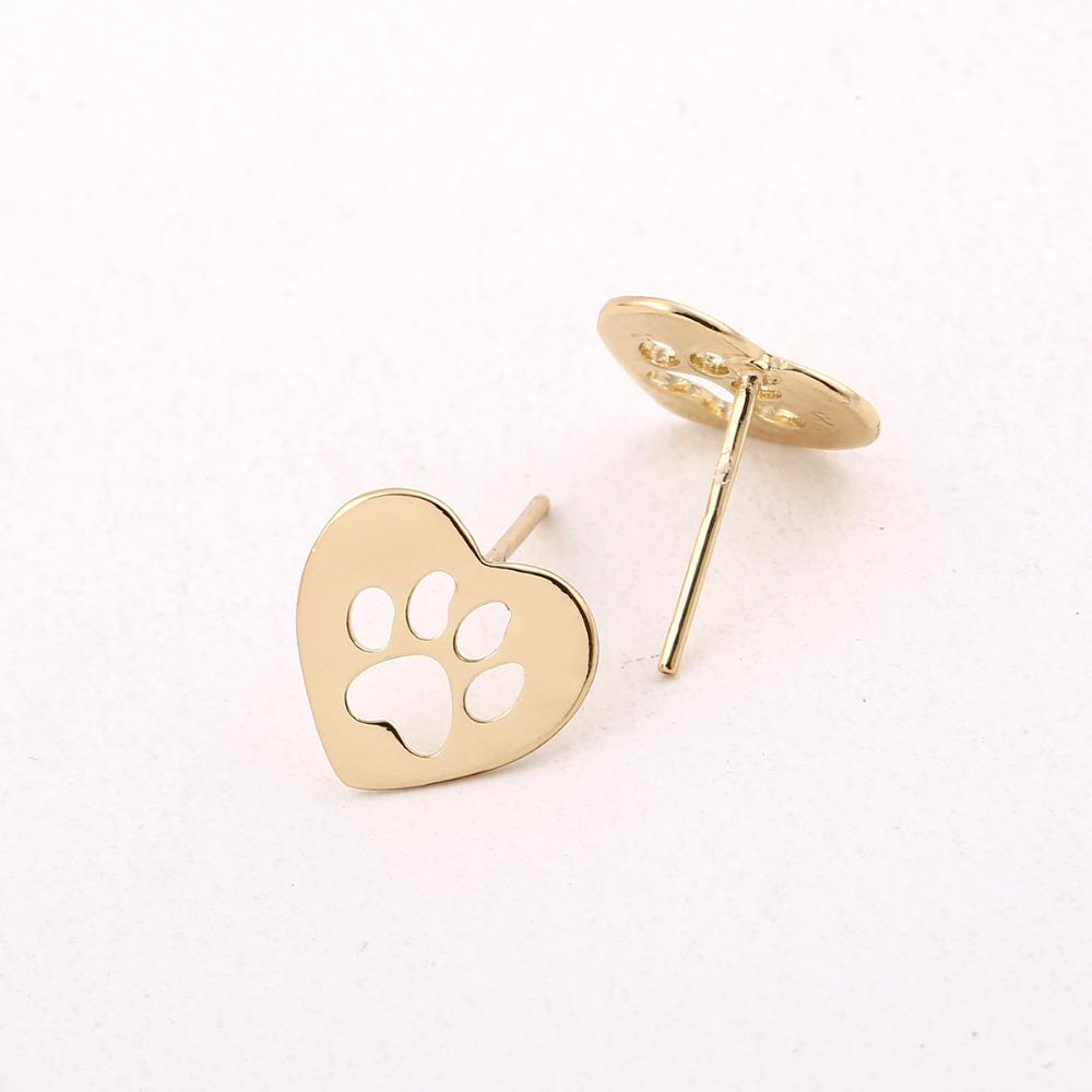 products dog earrings natural rose quartz gemstone kaboodleworld paw stud
