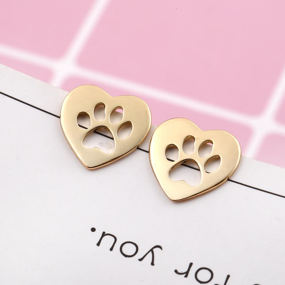 earrings jewelry female bear piercing women for small shiny gold item pink rose paw earring in cz stud from dog animal