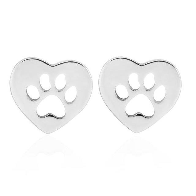Heart Shaped Dog Paw Print Stud Earring - Jewelux & Co.