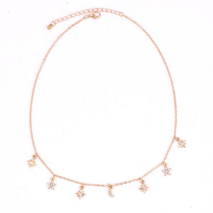 Moon Star Rhinestone Pendant Necklaces - Jewelux & Co.