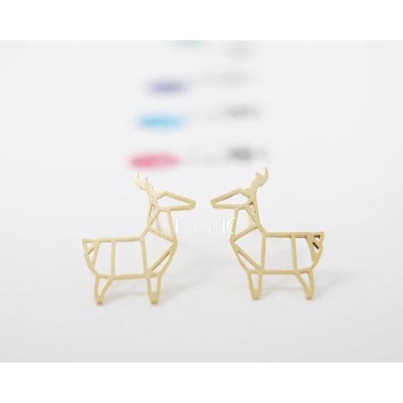 Origami Deer Animal Stud Earring - Jewelux & Co.