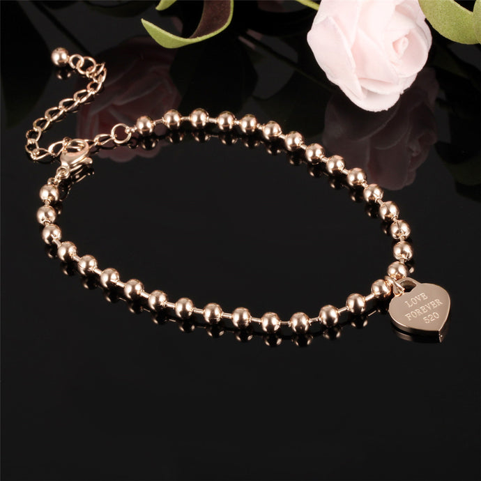 Engraved Heart Bead Anklet - Jewelux & Co.