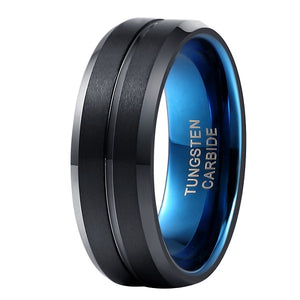 Black & Blue Stripped Tungsten Ring - Jewelux & Co.