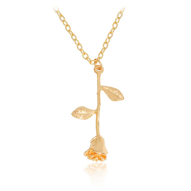 Rose Pendant Necklace - Jewelux & Co.
