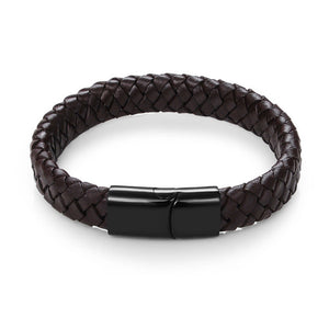 Braided Leather Magnetic Clasp Bangle - Jewelux & Co.