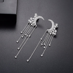Moon Star Tassel Drop Earring - Jewelux & Co.