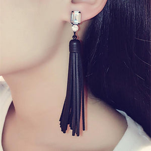 Rhinestone Crystal Cubic Zirconia Tassel Drop Earring - Jewelux & Co.