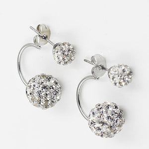 Double Pearl Rhinestone Crystal Stud Earring - Jewelux & Co.