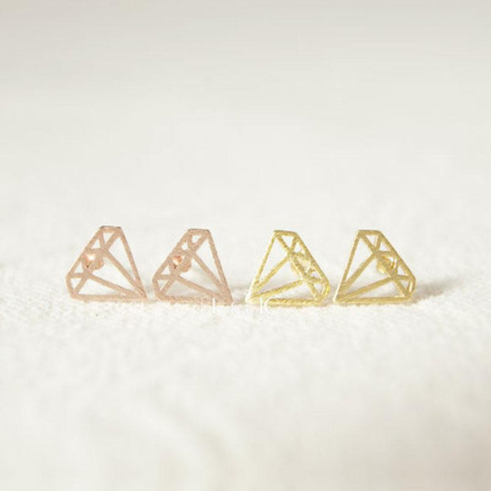 Tiny Diamond Shape Stud Earring - Jewelux & Co.