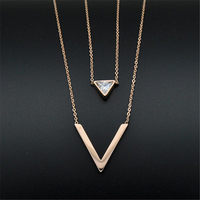 Triangle Crystal Stainless Steel Double Layer Link Chain Necklace - Jewelux & Co.