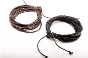 Two Pieces Per Set Braided Leather Rope Chain Bracelet - Jewelux & Co.