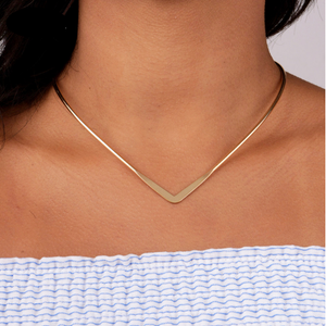 V Design Torques Metal Choker Necklace - Jewelux & Co.