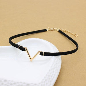 Vintage V Letter Shape Rope Chain Choker Necklace - Jewelux & Co.