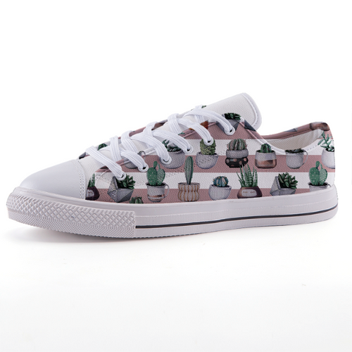 Stripe Cactus: Low-top fashion canvas shoes (size 32 to 43)