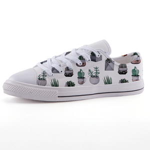 White Pots Cactus: Low-top fashion canvas shoes (size 32 to 43)