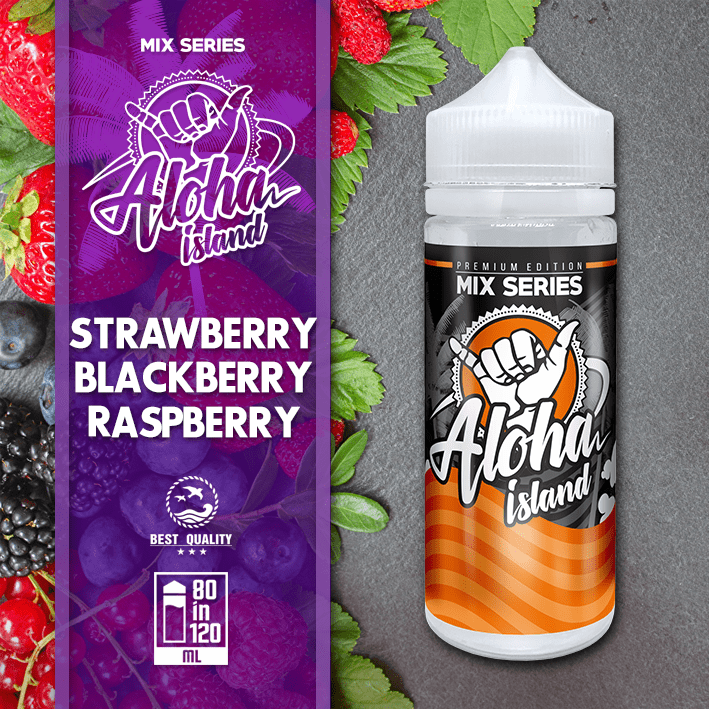 ALOHA ISLAND MIX-SHAKE-VAPE - 80/120ML - STRAWBERRY, BLACKBERRY & RASPBERRY (ΦΡΑΟΥΛΑ-ΒΑΤΟΜΟΥΡΟ-ΣΜΕΟΥΡΟ)