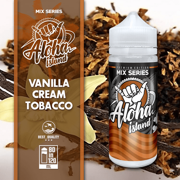 ALOHA ISLAND MIX-SHAKE-VAPE - 80/120ML - VANILLA, CREAM & TOBACCO (ΒΑΝΙΛΙΑ-ΚΡΕΜΑ-ΚΑΠΝΟΣ)