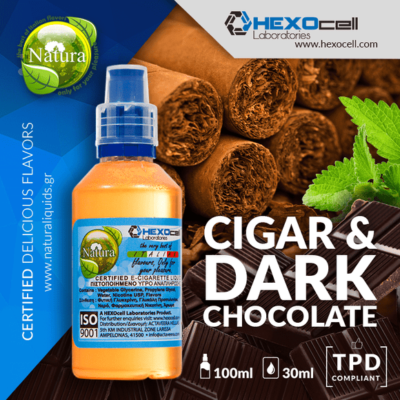 NATURA MIX-SHAKE-VAPE - 30/60ML - CIGAR & DARK CHOCOLATE (ΠΟΥΡΟ & ΜΑΥΡΗ ΣΟΚΟΛΑΤΑ)