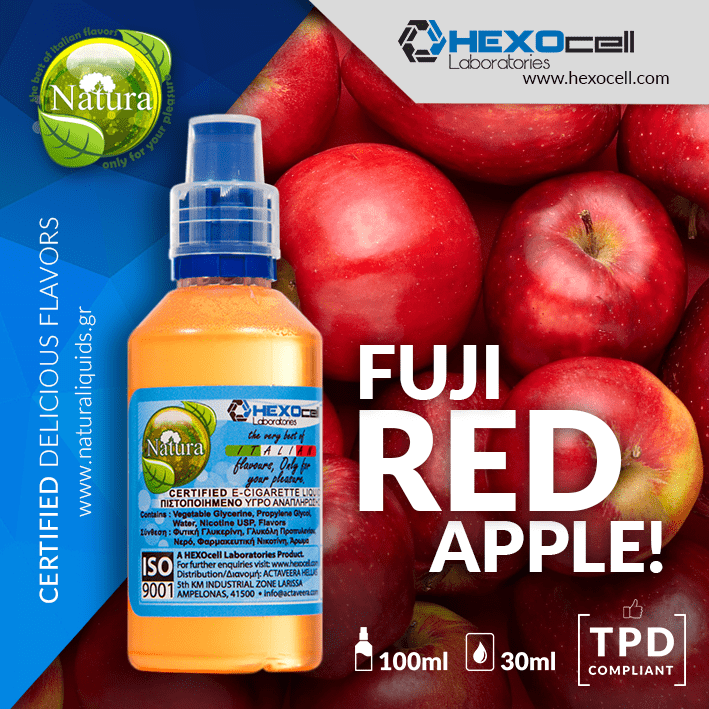 NATURA MIX-SHAKE-VAPE - 30/60ML - FUJI RED APPLE ! (ΚΟΚΚΙΝΟ ΜΗΛΟ ΦΟΥΤΖΙ)