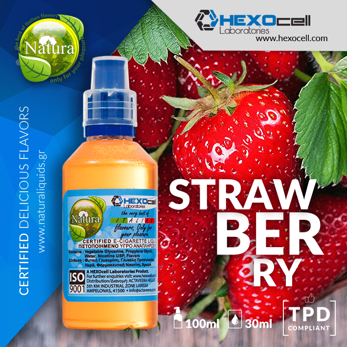 NATURA MIX-SHAKE-VAPE - 30/60ML - STRAWBERRY (ΒΙΟΛΟΓΙΚΗ ΦΡΑΟΥΛΑ)