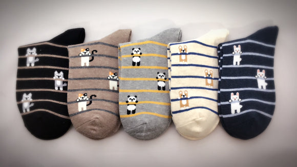 Hang in There, 5 Pairs Cute Animal Print Women Crew Socks