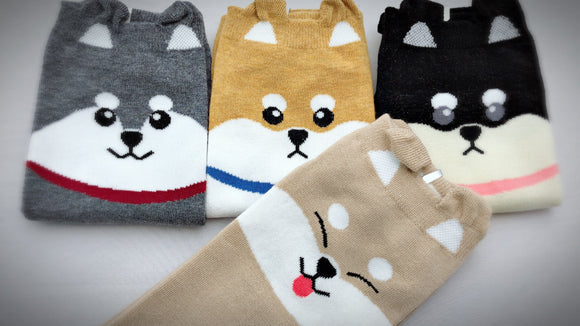 Cute Dogs, 4 Pairs Cute Dog Pups Animal Print Women Ankle Socks
