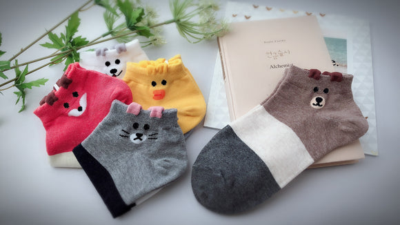 Animal Friends, 5 Pairs Cute Animal Print Women Ankle Socks
