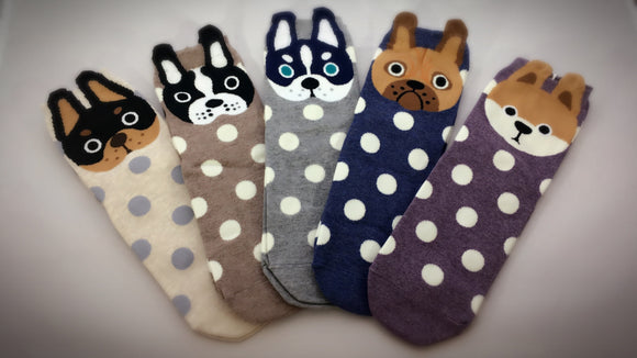 Pups, 5 Pairs Cute Dog Print Women Crew Socks