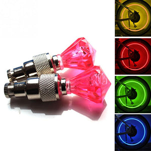 2 Piece Set of Diamond Shaped LED Warning Lights for Your Cycle Tire Valve Caps