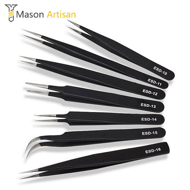 6 Piece Set of Anti-Static Stainless Steel Tweezers for Soldering